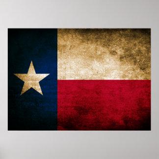 Bandera del vintage de Tejas Póster