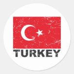 Bandera del vintage de Turquía Etiqueta Redonda