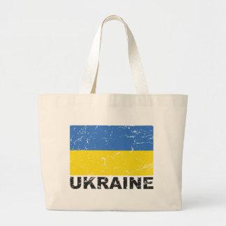 Bandera del vintage de Ucrania Bolsa Tela Grande