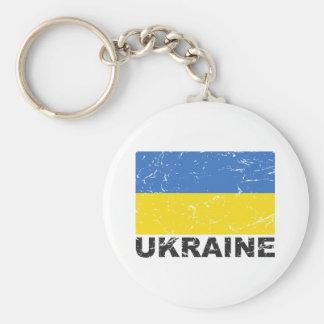 Bandera del vintage de Ucrania Llavero Redondo Tipo Pin