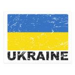 Bandera del vintage de Ucrania Postal