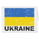 Bandera del vintage de Ucrania Tarjeta