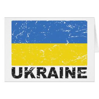 Bandera del vintage de Ucrania Tarjeta De Felicitación