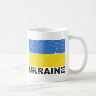 Bandera del vintage de Ucrania Taza
