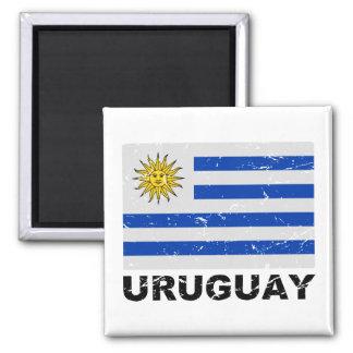 Bandera del vintage de Uruguay Imán Cuadrado