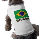 Bandera del vintage del Brasil Camisa De Perro