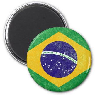 Bandera del vintage del Brasil Imán Redondo 5 Cm