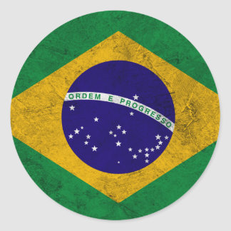 Bandera del vintage del Brasil Pegatina Redonda