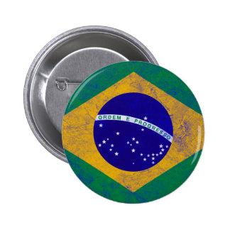 Bandera del vintage del Brasil Pin Redondo 5 Cm
