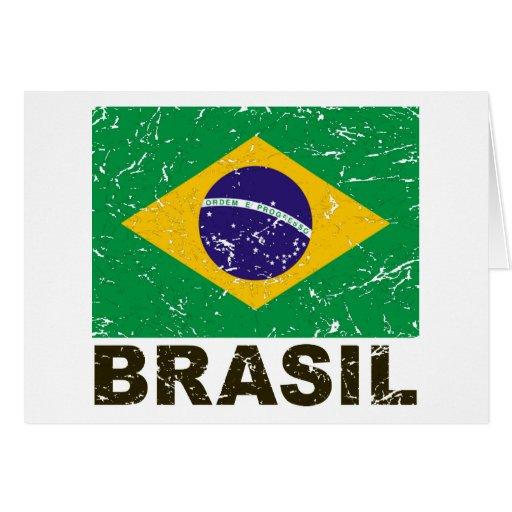 Bandera del vintage del Brasil Tarjeta De Felicitación