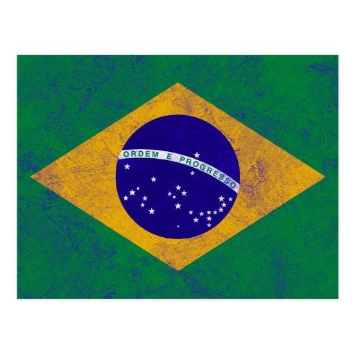 Bandera del vintage del Brasil Postales