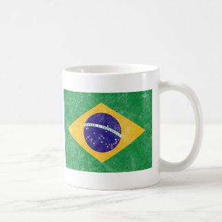 Bandera del vintage del Brasil Taza De Café