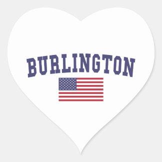 Bandera del VT los E.E.U.U. de Burlington Pegatina En Forma De Corazón