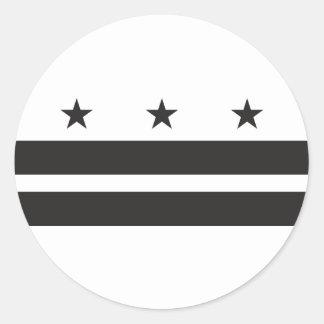 Bandera del Washington DC - negro Pegatina Redonda
