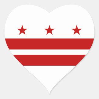 Bandera del Washington DC Pegatina En Forma De Corazón