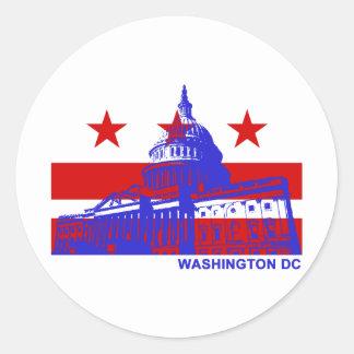 Bandera del Washington DC Pegatina Redonda