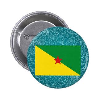 Bandera desapasible de la Guayana Francesa Pin Redondo 5 Cm