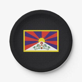Bandera desapasible de Tíbet Plato De Papel De 7 Pulgadas