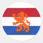 Bandera desenfrenada holandesa de Países Bajos del Pegatinas Redondas