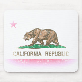 Bandera desteñida vintage de California Alfombrillas De Raton