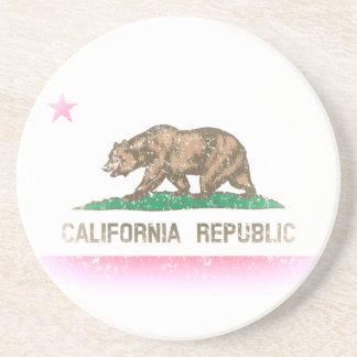 Bandera desteñida vintage de California Posavasos Personalizados