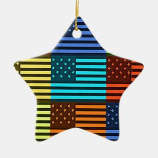Bandera divertida de los E.E.U.U. Adorno Navideño De Cerámica En Forma De Estrella