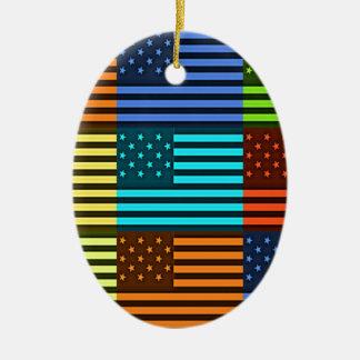 Bandera divertida de los E.E.U.U. Adorno Ovalado De Cerámica