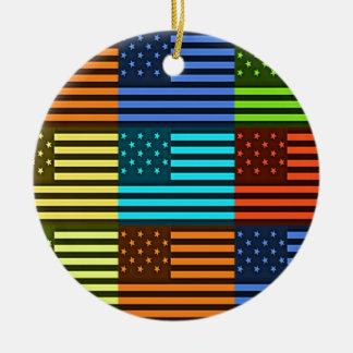 Bandera divertida de los E.E.U.U. Adorno Redondo De Cerámica