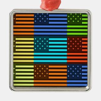 Bandera divertida de los E.E.U.U. Adorno Cuadrado Plateado