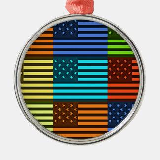 Bandera divertida de los E.E.U.U. Adorno Redondo Plateado