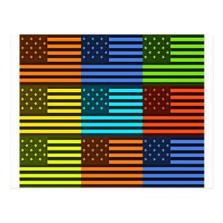 Bandera divertida de los E.E.U.U. Tarjetas Postales