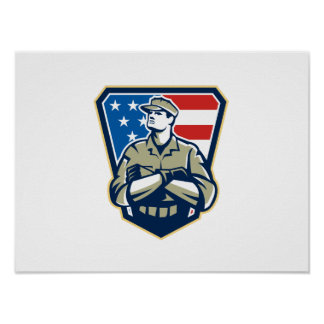 Bandera doblada brazos americanos del soldado retr impresiones