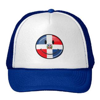 Bandera dominicana sonriente de la ronda brillante gorros bordados