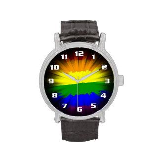 Bandera dramática y hermosa del arco iris del reloj de mano
