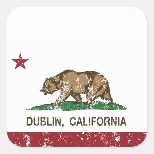 bandera Dublín de California apenada Pegatinas Cuadradases Personalizadas