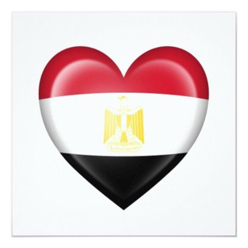 Bandera egipcia del corazón en blanco invitaciones personales