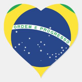 Bandera el Brasil. República Federativa hace el Colcomanias Corazon
