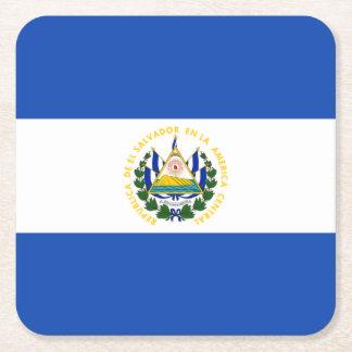 Bandera: El Salvador Posavasos De Cartón Cuadrado