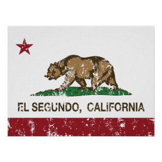 Bandera El Segundo de la república de California Posters