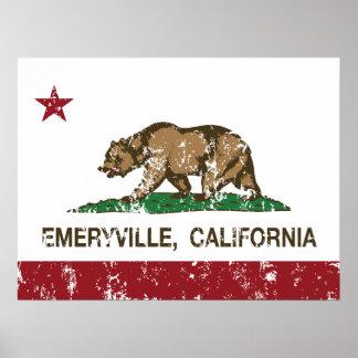 Bandera Emeryville de la república de California Poster
