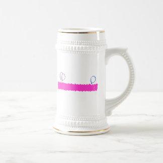 Bandera en blanco del feliz cumpleaños tazas de café