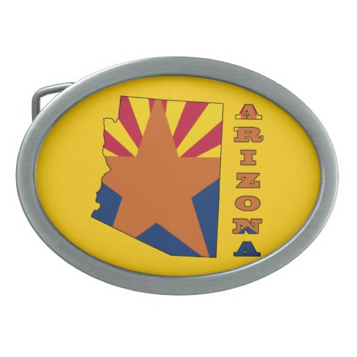 Bandera en el mapa Arizona Hebillas De Cinturon Ovales