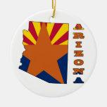 Bandera en el mapa Arizona Ornamentos De Navidad