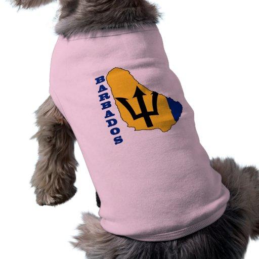 Bandera en el mapa Barbados Camisetas De Mascota