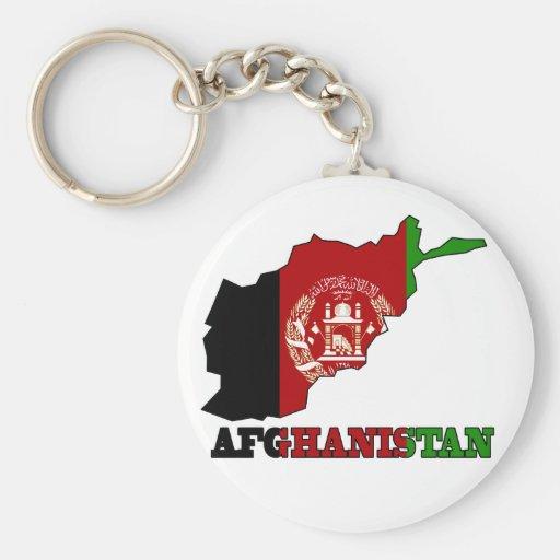 Bandera en el mapa de Afganistán Llavero Redondo Tipo Pin