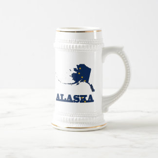 Bandera en el mapa de Alaska Jarra De Cerveza