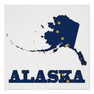 Bandera en el mapa de Alaska Perfect Poster