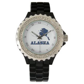 Bandera en el mapa de Alaska Relojes De Pulsera