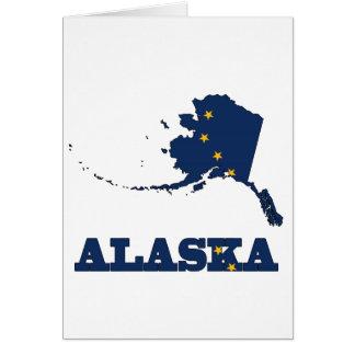 Bandera en el mapa de Alaska Tarjeta