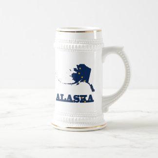 Bandera en el mapa de Alaska Taza De Café